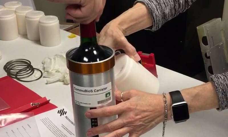 Bottle of wine in metal canister