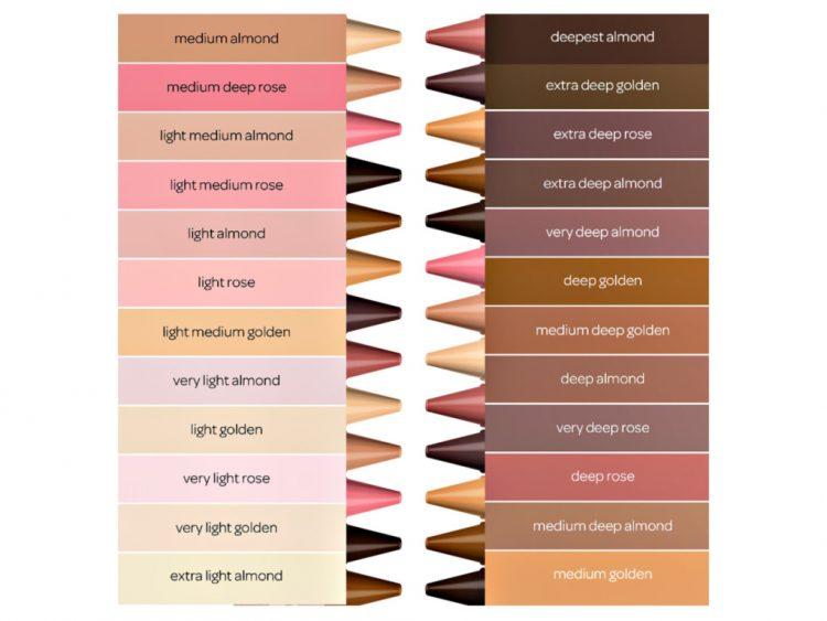 "Names of the 24 colours of the ""Colours of the World"" pack"